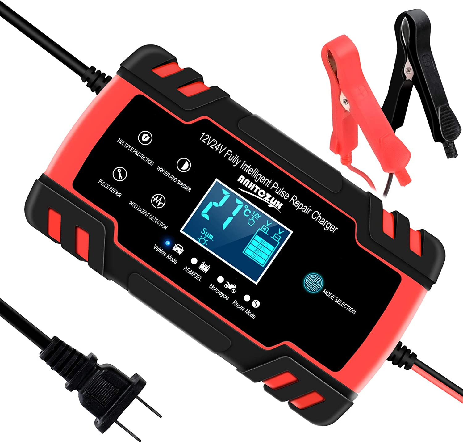 SUHU Car Battery Charger, 12V/8A 24V/4A Smart Automatic Charger Red
