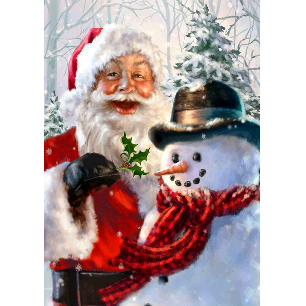 MXJSUA 5D DIY Diamond Painting Kit by Number Full Drill Round Beads Crystal Rhinestone Embroidery Cross Stitch Picture Supplies Arts Craft Wall Sticker Decor 12x16In Santa Claus and Snowman