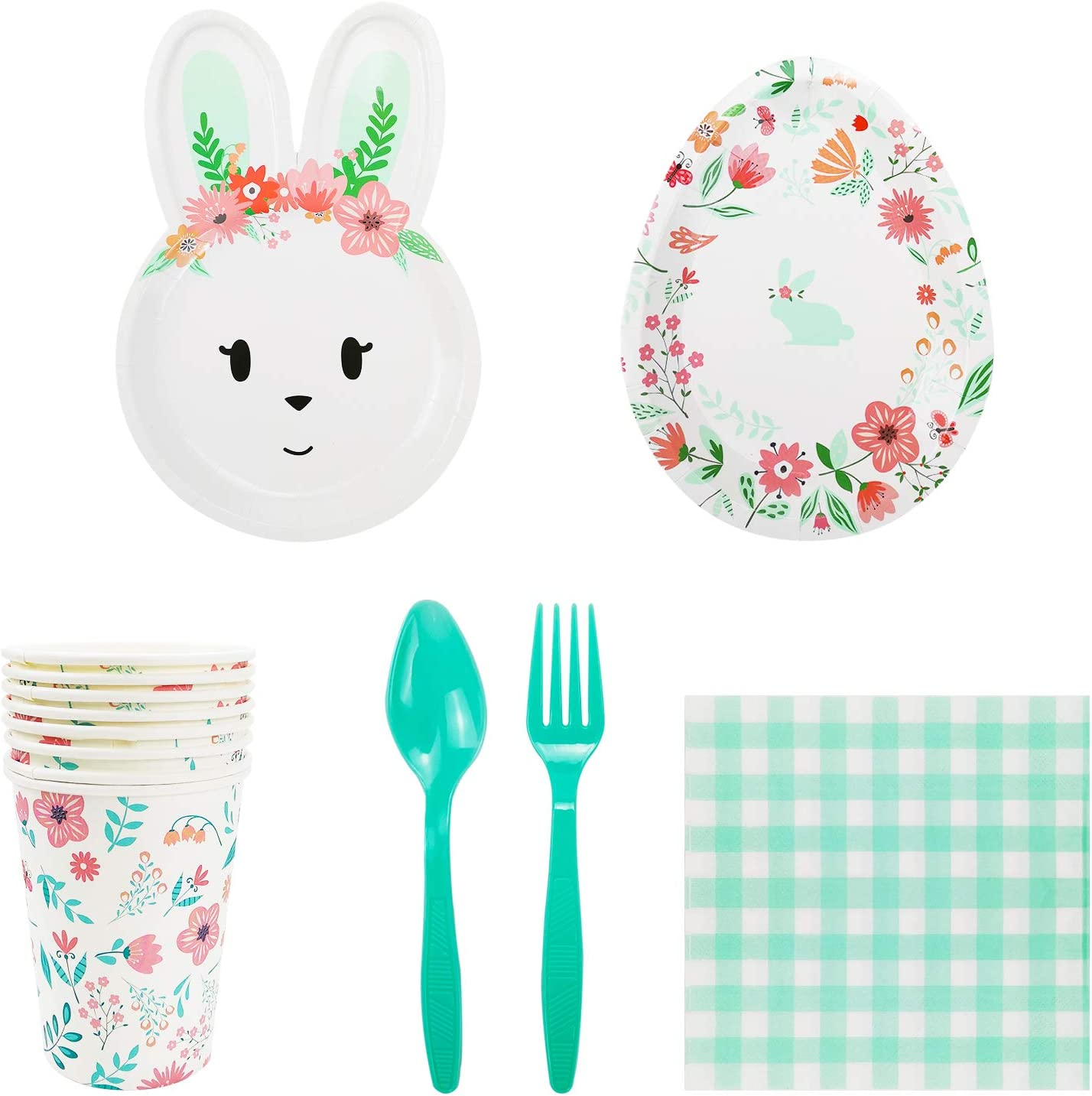 Spoons Egg Shape Dinner /& Dessert Plates Forks -60 Pieces Birthday Easter Party Decorations Rabbit Face Shaped Paper Plates Cups Mint Bunny Party Supplies for 8 Guests Napkins