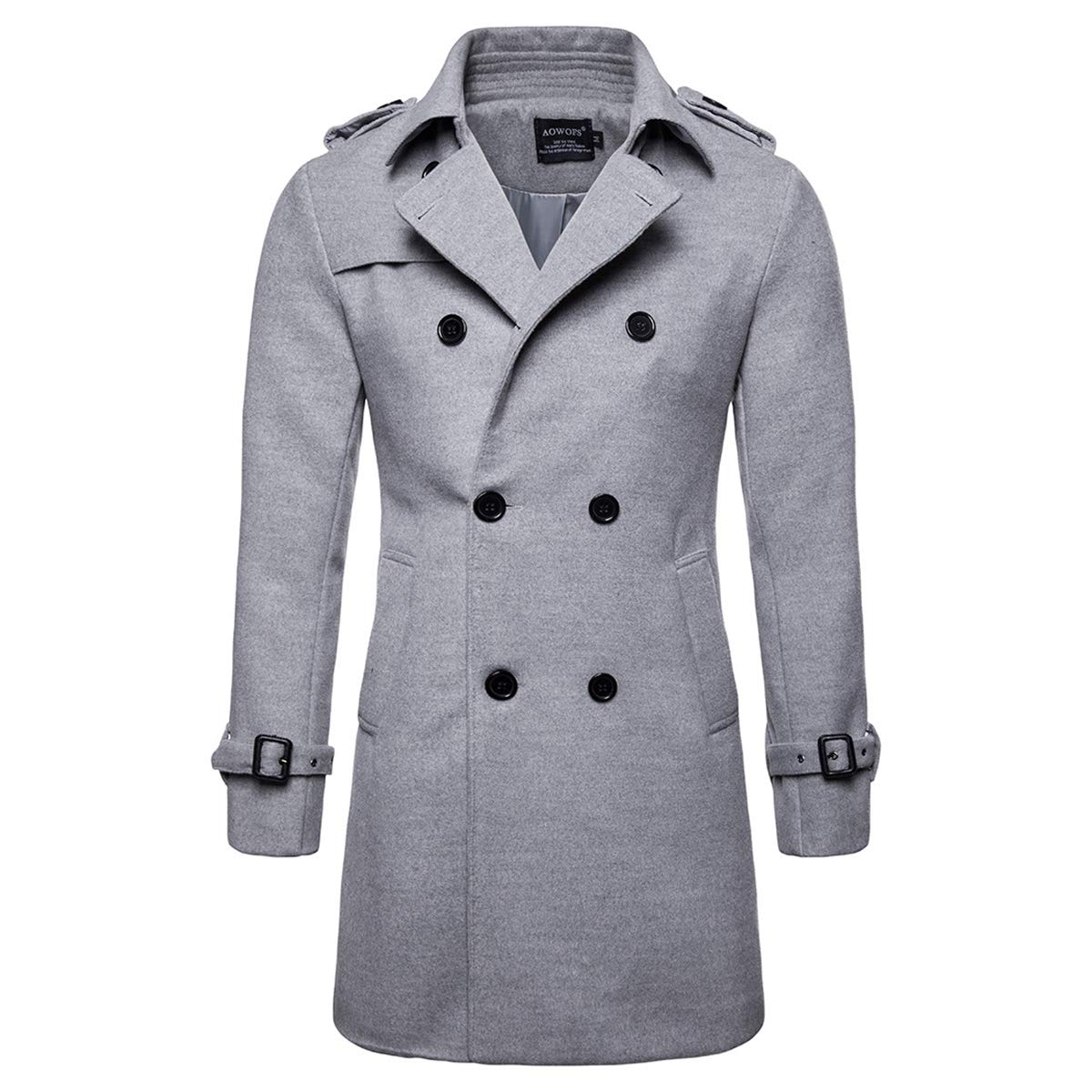 AOWOFS Men's Trench Coat Woolen Winter Long Double Breasted Overcoat Slim Fit Warm Pea Coat Grey by AOWOFS