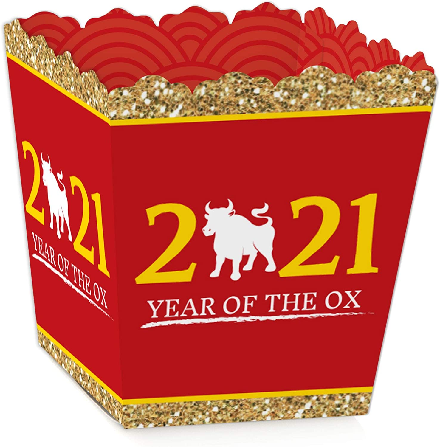 Big Dot of Happiness Chinese New Year - Party Mini Favor Boxes - 2021 Year of the Ox Treat Candy Boxes - Set of 12