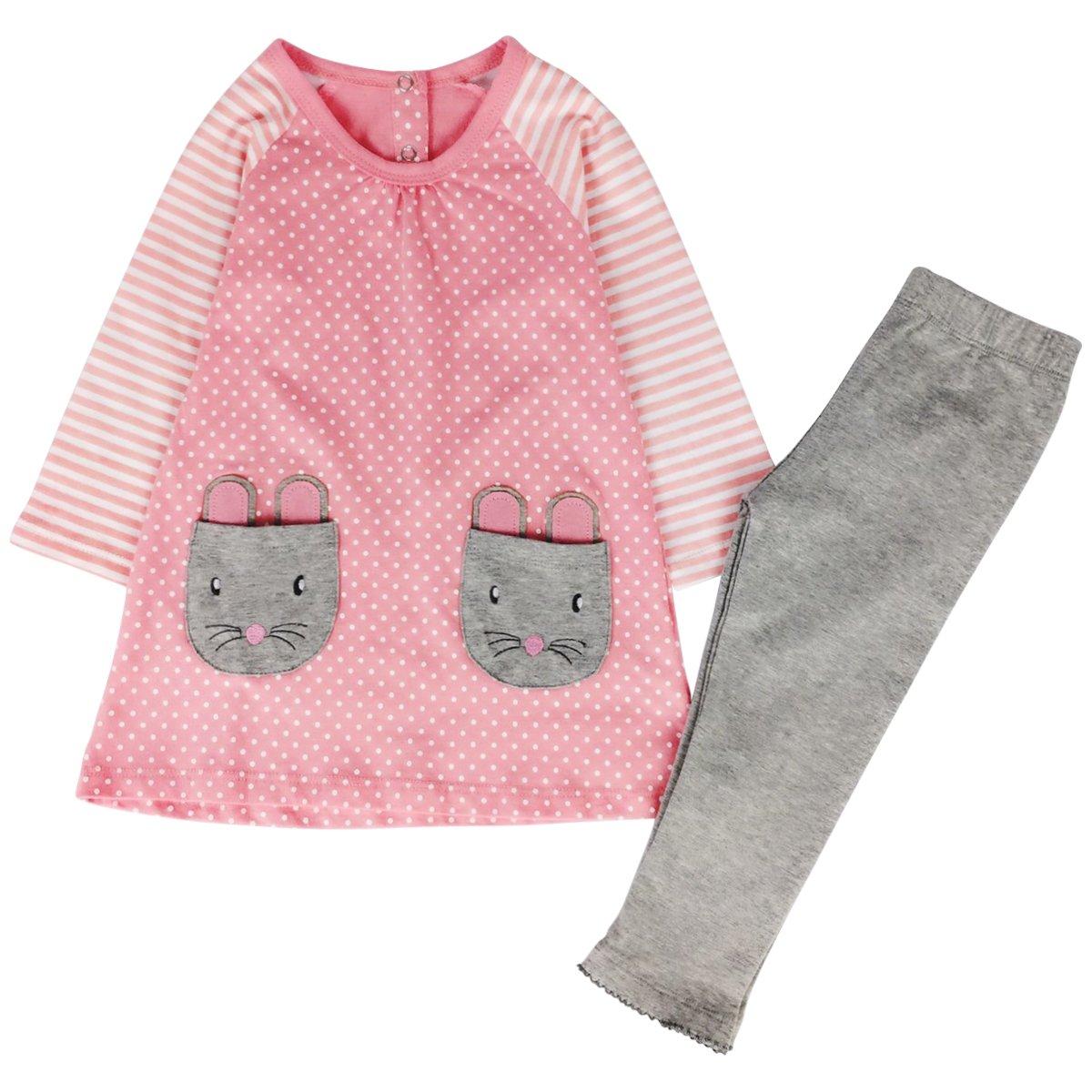 Jastore Kids Girl Cute 2PCS Striped Clothing Set Long Sleeve Top +Leggings Outfits
