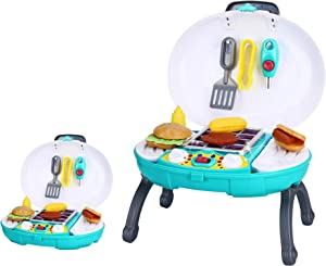 Kids Play Set Kitchen Toy Food Grill Outdoor BBQ Toddler Pretend Playset Cooking Sets Camping Barbecue Backyard Picnic Barbeque Mini Utensils Grilling & Sounds Charcoal Grills Hamburger
