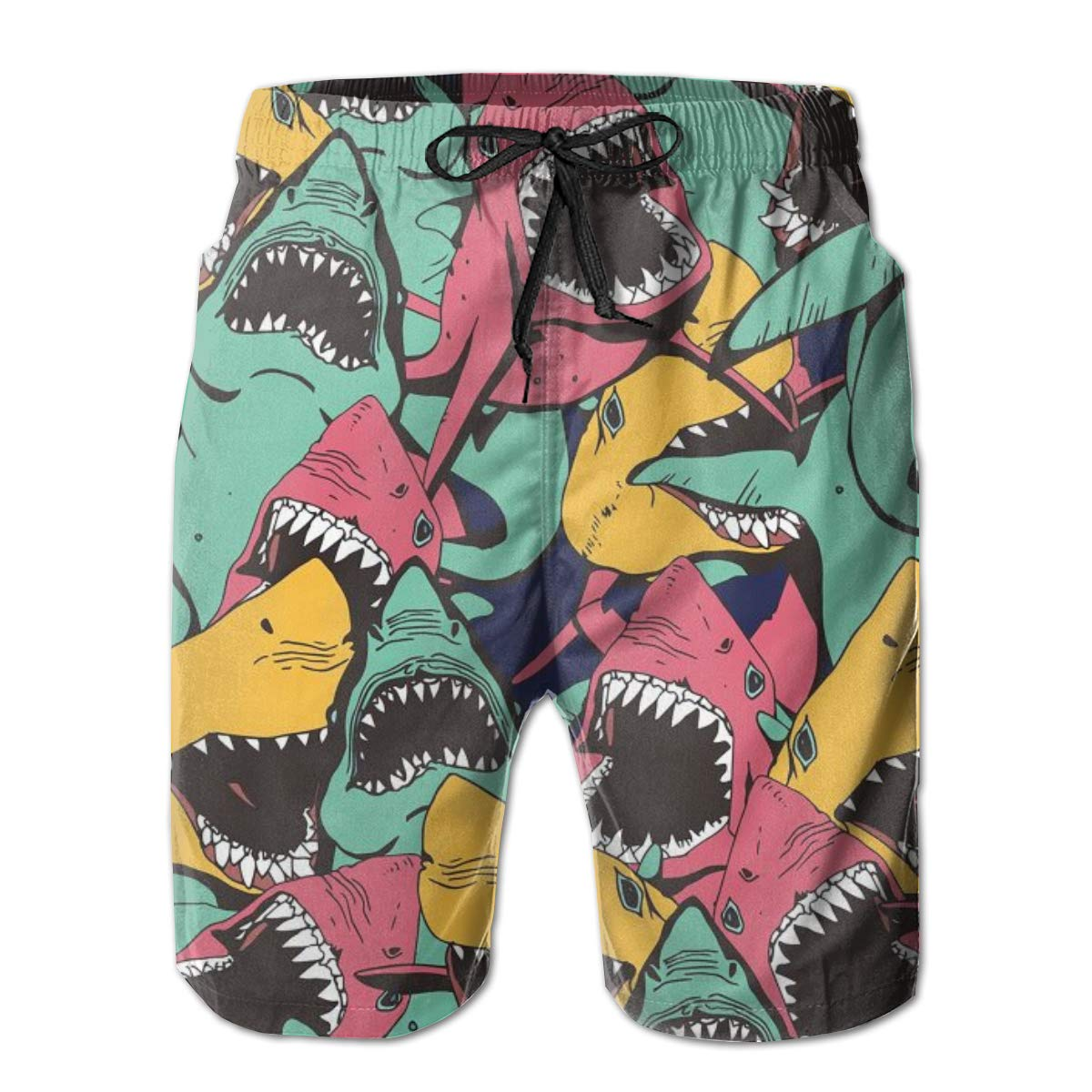 Mens Swim Trunks Colorful Shark Quick Dry Beach Board Shorts with Mesh Lining