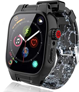 YOGRE Waterproof Case for 42mm, Apple Watch Series 3 and Series 2 Cases with Built-in Screen Protector Full Body Shell for Waterproof Anti-Scratch Shockproof Impact Resistant, 42mm Black