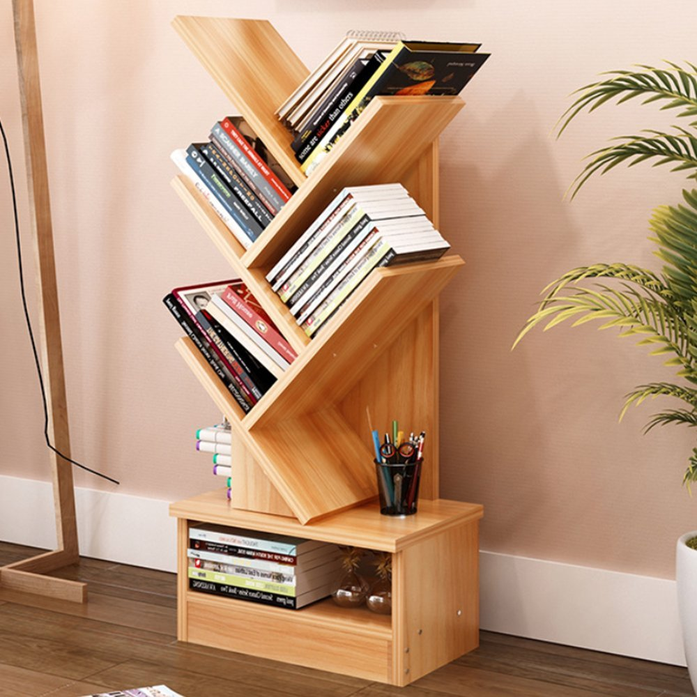 Magshion Tree Bookshelf Compact Book Rack Bookcase Display Storage Furniture for CDs, Movies & Books (5 Shelf)