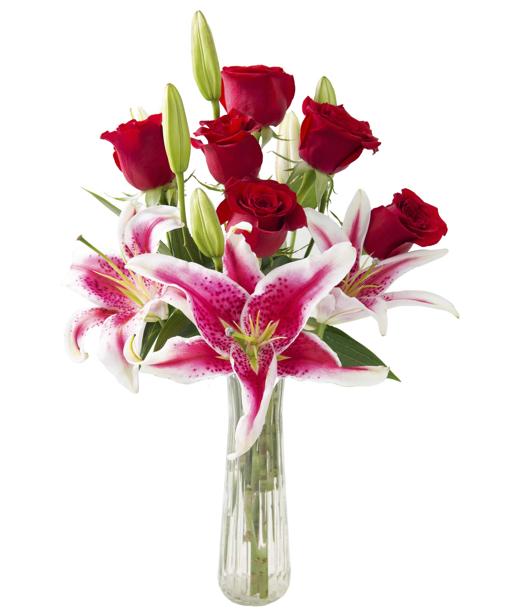 KaBloom Adore Her Mixed Bouquet of Farm-Fresh Red Roses and Pink Lilies with Vase