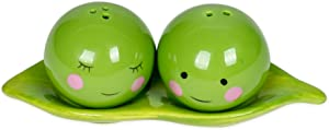 Peas in a Pod Green Ceramic Magnetic Salt and Pepper Shakers 3 Piece Gifting Boxed Set