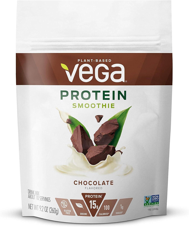 Vega Protein Smoothie, Chocolate, Plant Based Protein Powder - Vegan Protein Powder, Keto-Friendly, Vegetarian, Gluten Free, Soy Free, Dairy Free, Lactose Free, Non GMO (12 Servings, 9.2oz)