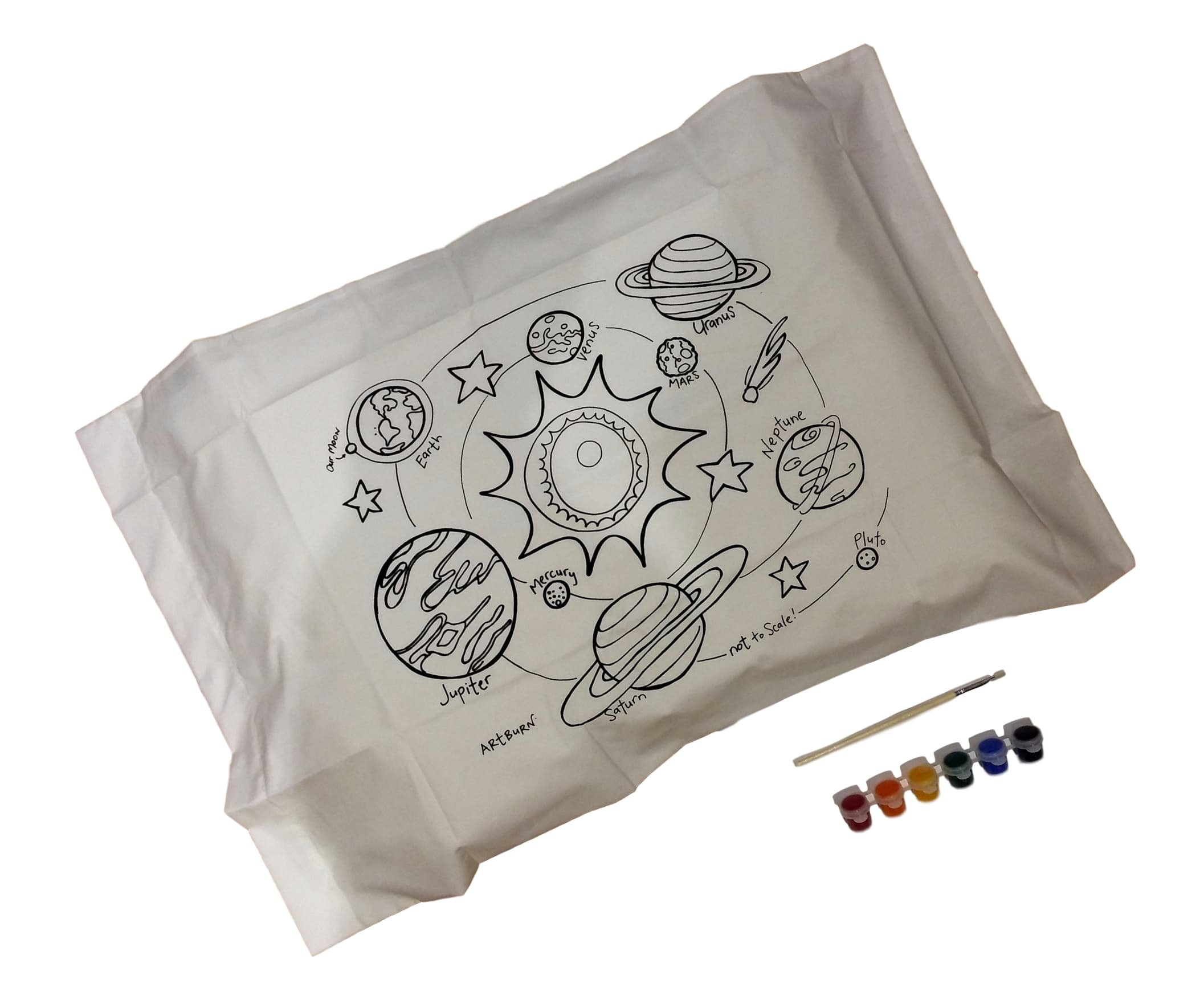 Artburn Pillowcase With Fabric Painting Kit For Kids (Our Solar System)