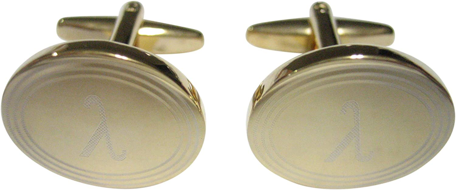 Gold Toned Etched Oval Letter E Monogram Cufflinks