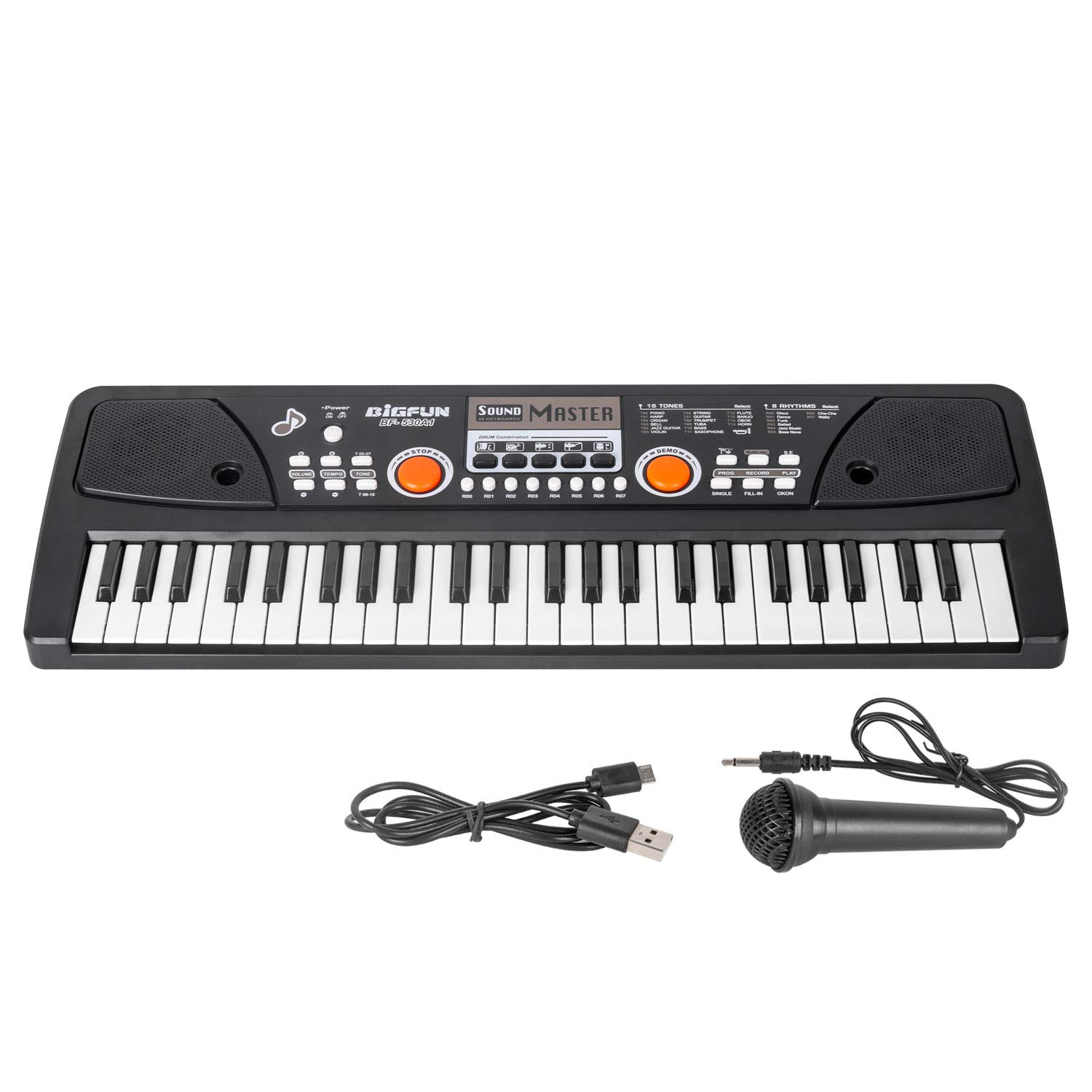 Kids Keyboard Piano, 49 Key Music Piano Keyboard, Portable Electronic Keyboard with Microphone for Kids Adult Beginners