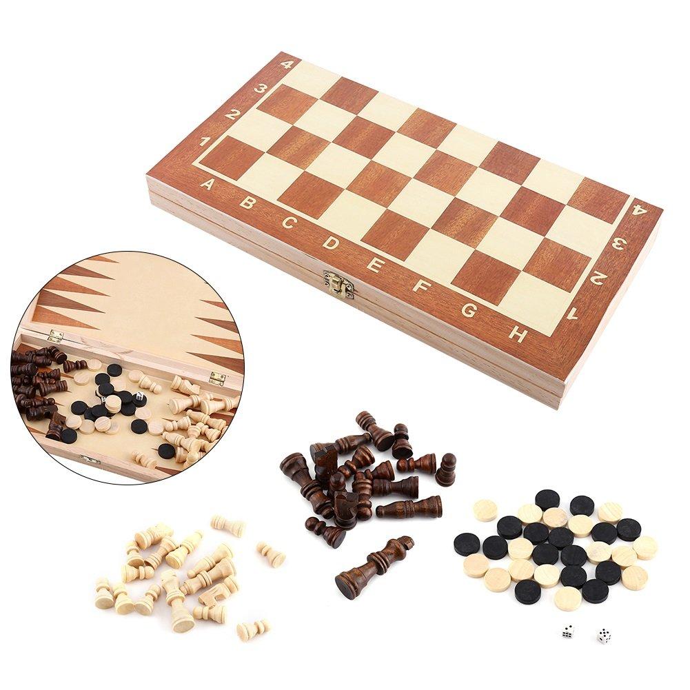 Juego de Ajedrez 3 en 1 - Damas Backgammon Dados Tablero de Ajedrez Plegable Estándar Internacional: Amazon.es: Juguetes y juegos