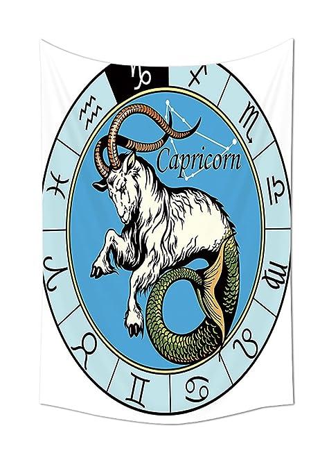 La astrología tapiz decoración antigua ilustración de Capricornio icono con signos mitología griega Saturn diseño dormitorio
