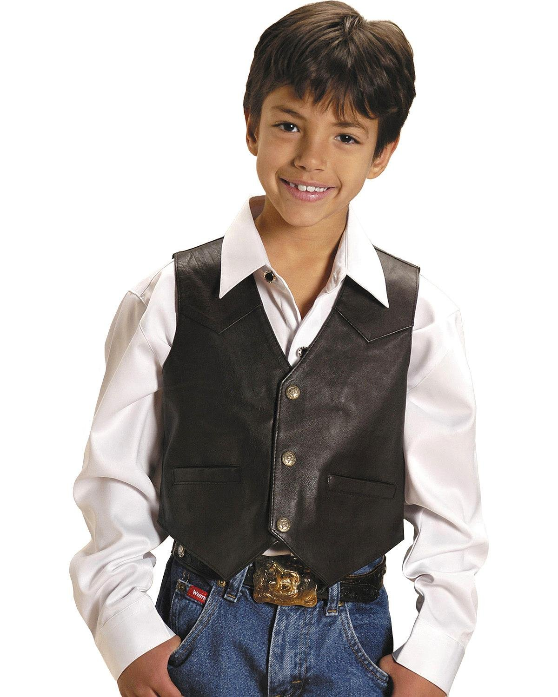 Roper Boys' Lambskin Leather Vest Brown Large by Roper (Image #1)