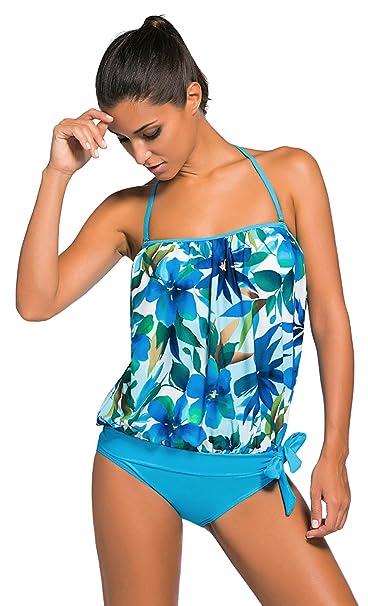 La vogue Ropa de Baño de Dos Piezas Tankini para Mujer Playa Top y Bañador Azul