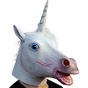 8f666bf554af4 Amazon.com: Gmasking Creepy Black Evil Unicorn Mask Costume: Toys ...