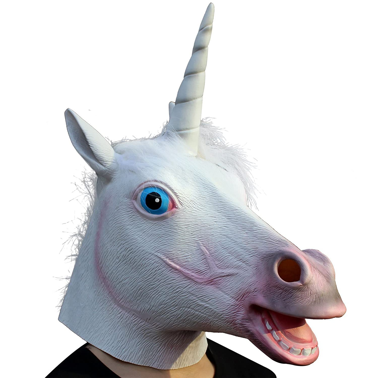 CreepyParty Deluxe Novelty Halloween Costume Party Latex Animal Head Mask, Unicorn Seaton unicorn mask B
