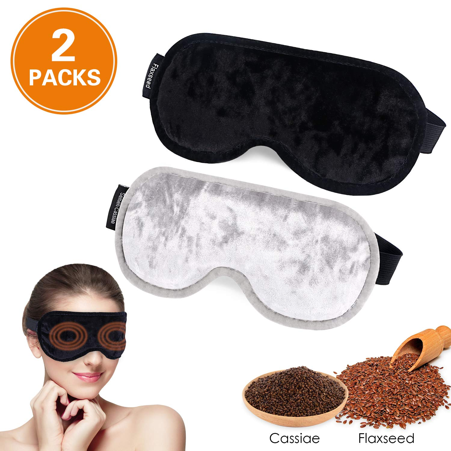 Eye Mask for Sleeping,WU-MINGLU Moist Heat Eye Compress&Microwave Hot Eye Mask for Dry Eye,Adjustable Soft Contoured Eyeshade Blindfold for Women,Men,Travel,Shift Work & Meditation (Black & Silve)