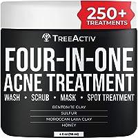 TreeActiv Four-in-One Acne Treatment | Wash, Scrub, Mask, and Spot Treatment | Heals Rosacea | Exfoliating Sugar | Face…