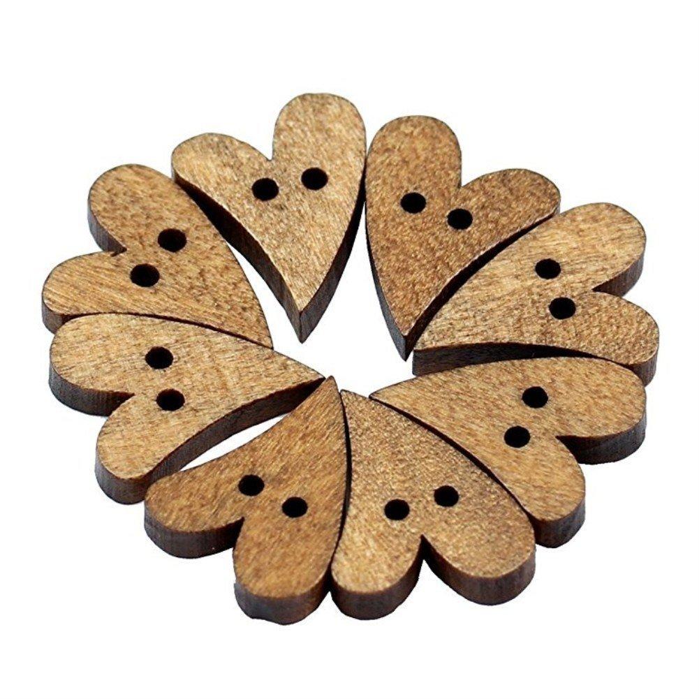 Vikenner 100pz 2fori a forma di cuore in legno con bottoni per cucire scrapbooking e progetti creativi fai da te Decorazione–marrone
