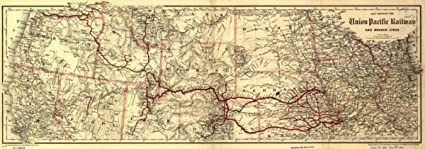 Amazon.com: 1888 Map showing the Union Pacific Railway and ...