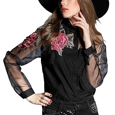 GigaMax(TM) Fashion Women Elegant Flower Embroidery Organza Blusas Feminina Casual Mesh Blouse Tops