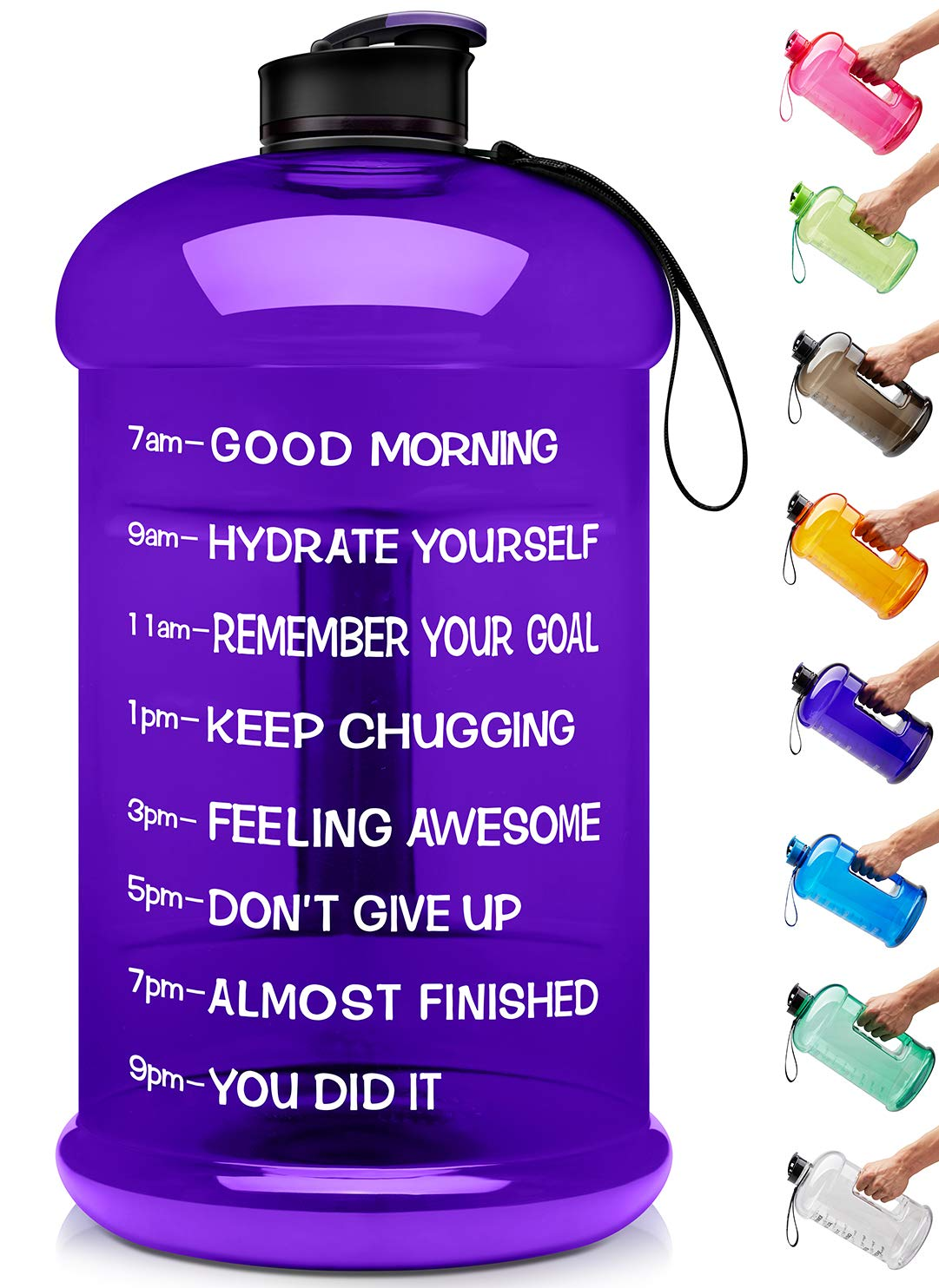 Venture Pal Large 1 Gallon/128 OZ & 74 OZ Motivational Leakproof BPA Free Water Bottle with Time Marker Perfect for Fitness Gym Camping Outdoor Sports-1Gallon-Purple