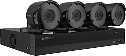 Wisenet SDH-B94047BF 8 Channel 4K DVR Video Security System 1TB Hard Drive and 4 4K Weather Resistant Bullet Cameras SDC-99447BF