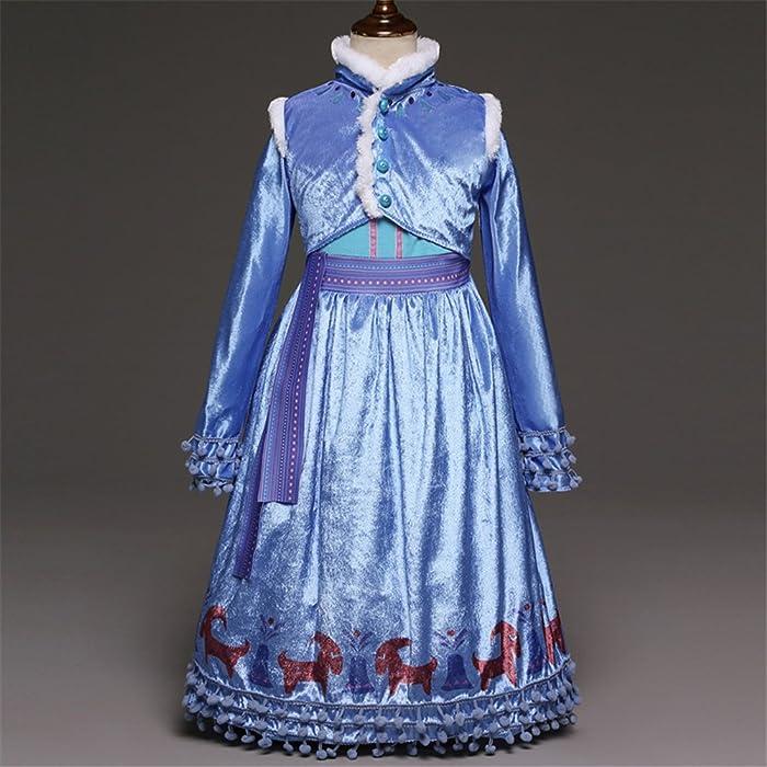 Princess Girls Blue Queen Costume Cosplay Fancy Princess Party Girls Wedding Dress with Fur Trim Cape