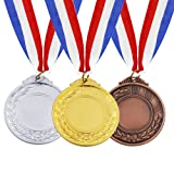 MOMOONNON 12 Pieces Metal Winner Gold Silver Bronze Award Medals With Neck Ribbon, Olympic Style, 2 Inches