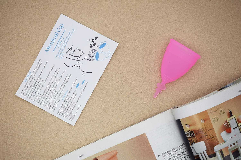 SPEQUIX Juego de 2 vasos menstruales (L&S) y 1 taza esterilizadora con 3 protectores desechables de látex para los dedos, regalo extra, Rosado, 1