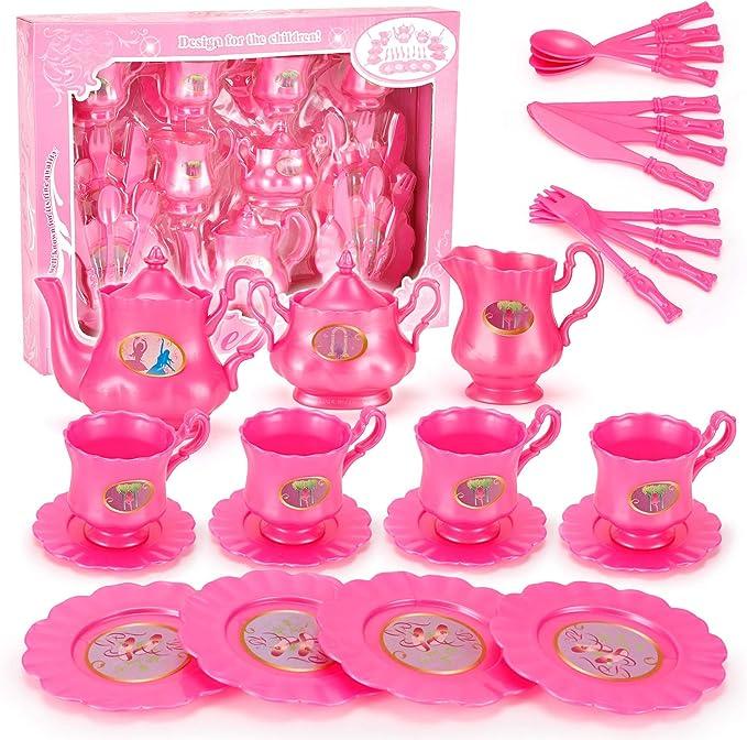 Disney Princess Pretend Play Tea Time Play Set for Girls Kids Toddlers 8 Pc Plastic Princess Dinnerware Playset with Disney Princess Stickers