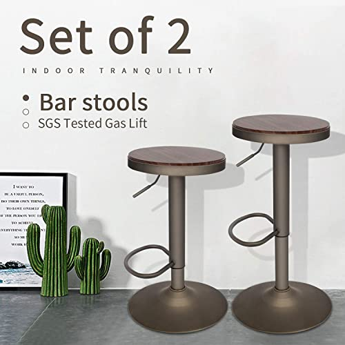 Set of 2 Wooden Swivel Adjustable Barstools, Gas Lift Pub Counter Chairs, Walnut