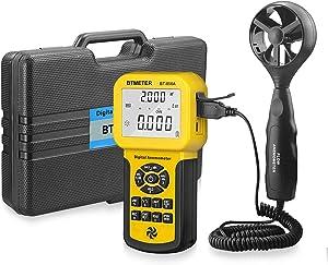BTMETER BT-856A Pro CFM Anemometer Measures Wind Speed, Wind Flow, Wind Temp for HVAC Air Flow Velocity Meter with USB