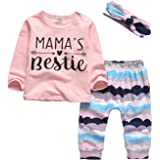 3Pcs Baby Girl Outfits Set Long Sleeve T-Shirt Tops Flowers Pants with Headband
