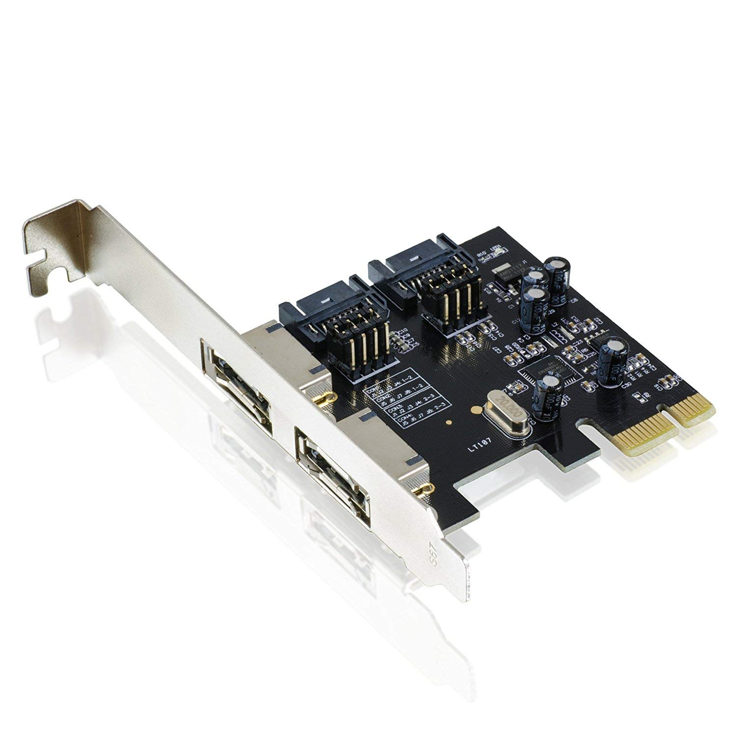 CSL PCI-Express (PCIe) 2.0 Controller card/interface card for SATA III/eSATA III (SSD+HDD drives) | 6Gbit/s | 2x internal SATA / 2x external eSATA | ASMEDIA