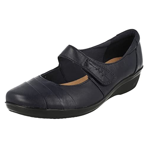 56e9d3e45d44 Clarks Women s Velcro Mary Janes Wedge Shoes Everlay Kennon Navy Leather