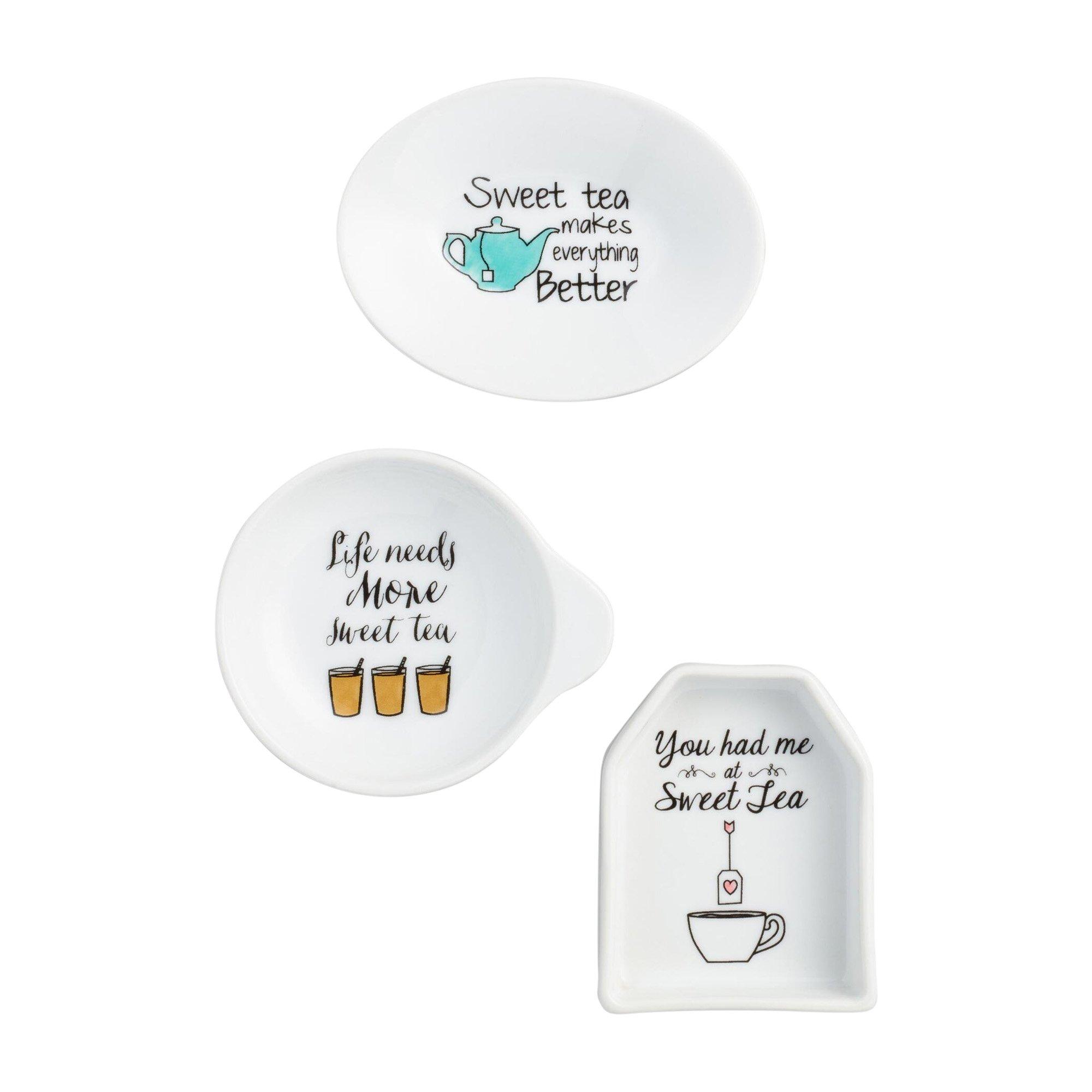 Sweet Tea Porcelain Tea Bag Rests - Set of 3