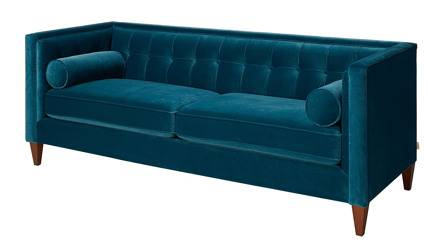 Amazon.com: Jennifer Taylor Home, Sofa, Satin Teal, Velvet, Hand Tufted,  Hand Painted And Hand Rub Finished Wooden Legs: Kitchen U0026 Dining