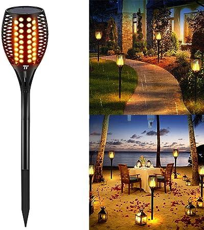 P12cheng Lámpara Solar para jardín,Luz Solar de Antorcha - Lámpara de jardín con luz LED antorcha de Llama Parpadeante para Patio Césped Jardin Black: Amazon.es: Hogar