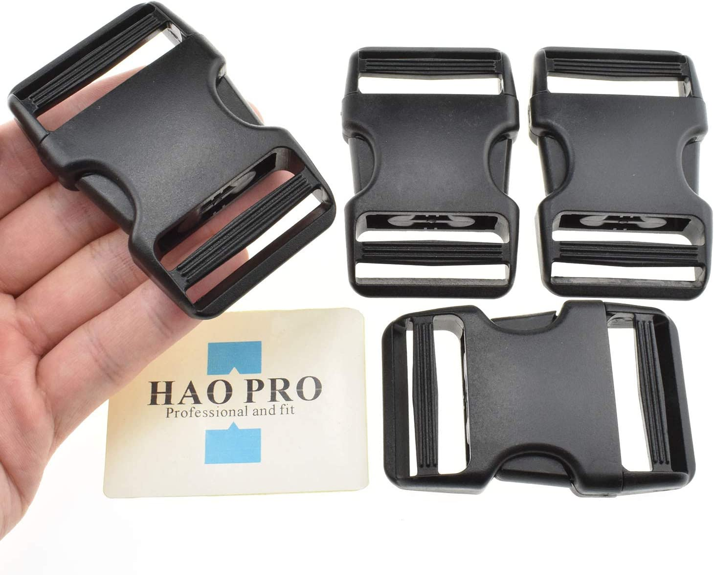 HAO PRO Quick Side Release Buckles Clips Snaps Dual Adjustable No Sewing Heavy Duty Plastic 1.5 Wide 2 Pack Replacement for Nylon Strap Boat Cover Backpack Fanny Pack Nylon Webbing Belt Dog Collars