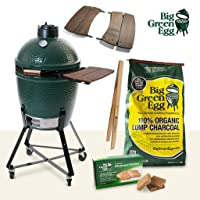 Keramikgrill Big Green Egg Medium Set Grill-Set XXL grün Keramik Ceramic Smoker Garten ✔ Lenkrollen mit Bremse ✔ Deckel ✔ Seitentisch rechts ✔ oval ✔ rollbar ✔ stehend grillen ✔ Grillen mit Holzkohle ✔ mit Station ✔ mit Rädern