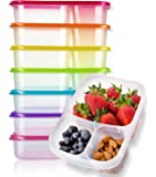 Meal Prep Containers 3 Compartment 7 Pack Reusable Plastic Food Storage Containers with Lids-BPA Free,Microwave,Dishwasher Safe,Portion Control Bento Lunch Boxes