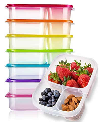 Amazoncom Meal Prep Containers 3 Compartment 7 Pack Reusable