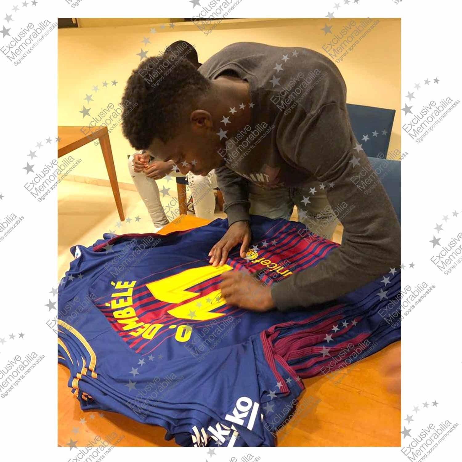 Ousmane Dembele Signed Barcelona 2017-18 Football Shirt In Deluxe Frame | Autographed Sports Memorabilia at Amazons Sports Collectibles Store