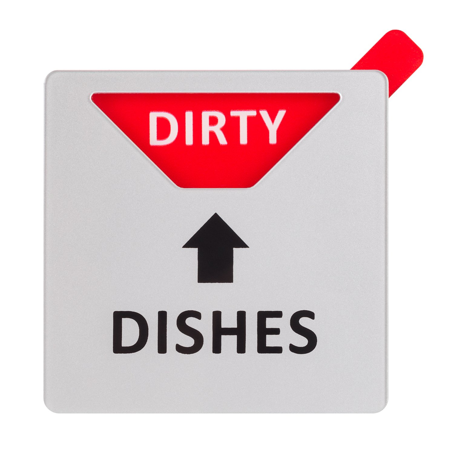 """Kichwit Dishwasher Magnet Clean Dirty Sign Indicator, Works on All Dishwashers, Non-Scratch Strong Magnetic Backing, Residue Free Adhesive Included, 3.1"""" x 3.1"""", Silver, Square Shaped"""