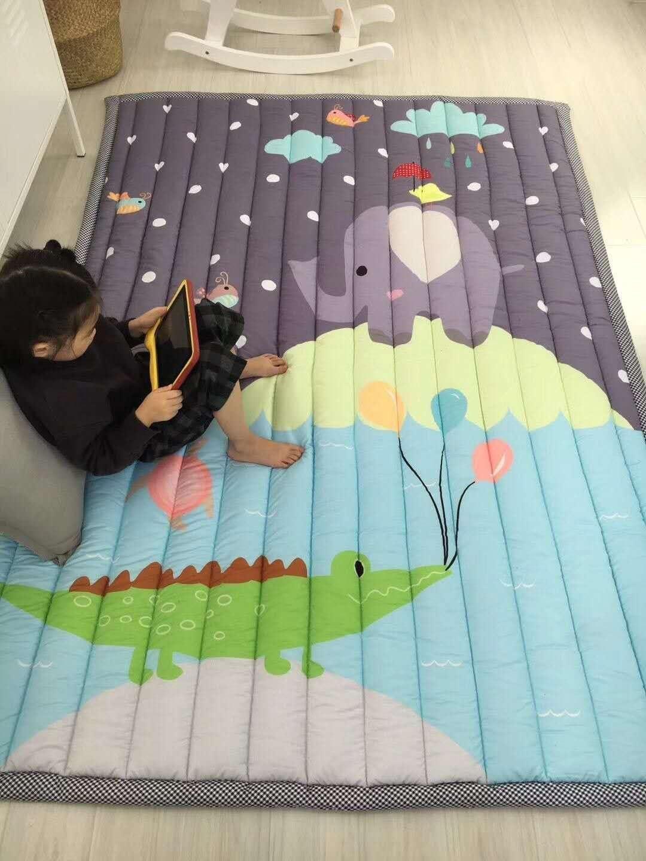 Zinsale Grande Espesar Baby Playmat Algodón Gimnasio en planta Guardería Pad de actividad Estera de arrastre (Zoo)