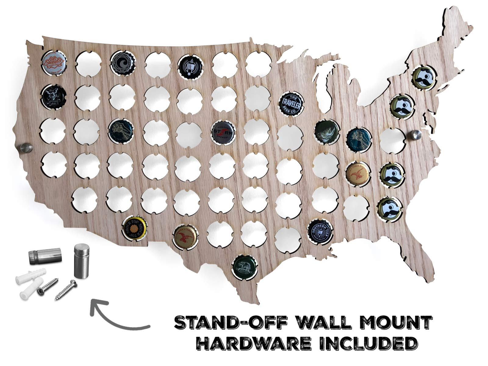 Beer Cap Map USA - Made From Red Oak - Wall Mounting Stand Off Screws Included - The Perfect Beer Gift