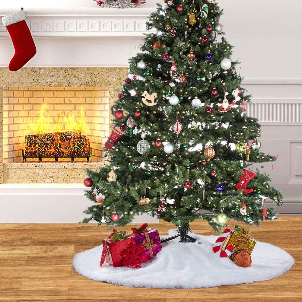 MACTING 30 Inch Luxury Faux Fur Christmas Tree Skirt Soft Snow White Tree Mat Christmas Decorations Xmas Holiday Tree Skirts